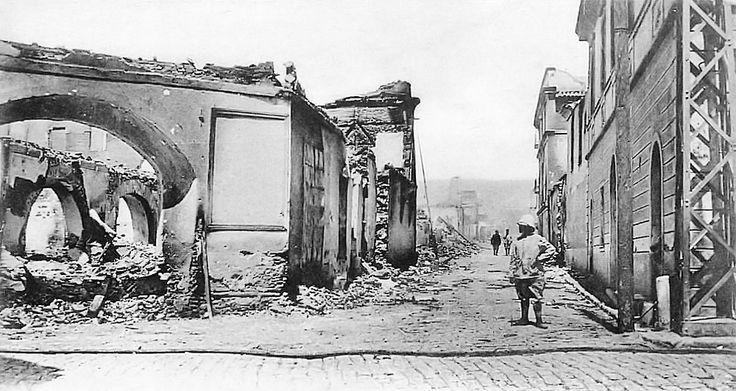 Ότι απέμεινε από το χάνι «Μεγάλη Μάλτα» μετά την πυρκαγιά το 1917