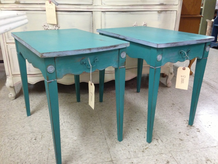 End Tables Painted In Florence W/ Touches Of Louis Blue. Savannahu0027s House