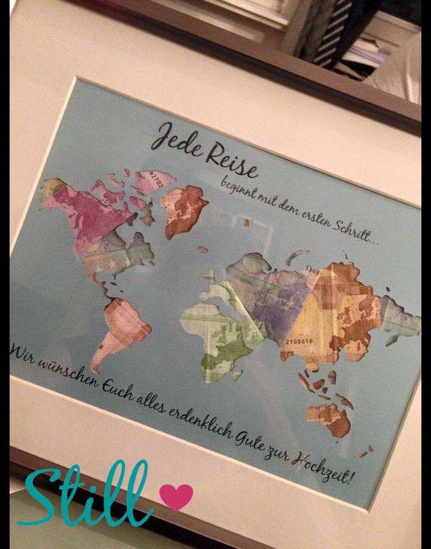 Tolle individuell gestaltbare Geschenkidee passend für jeden Anlass.  Die Weltkarte ist ausgeschnitten und kann nach belieben hinterlegt werden.  Toll sieht es natürlich mit Geld hinterlegt aus....