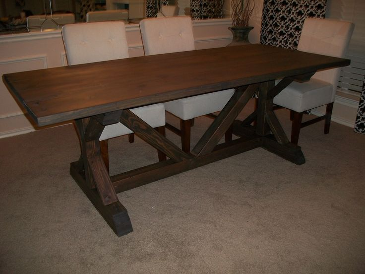 Farm House Table For The Dining Room Using 4x4 . Love The