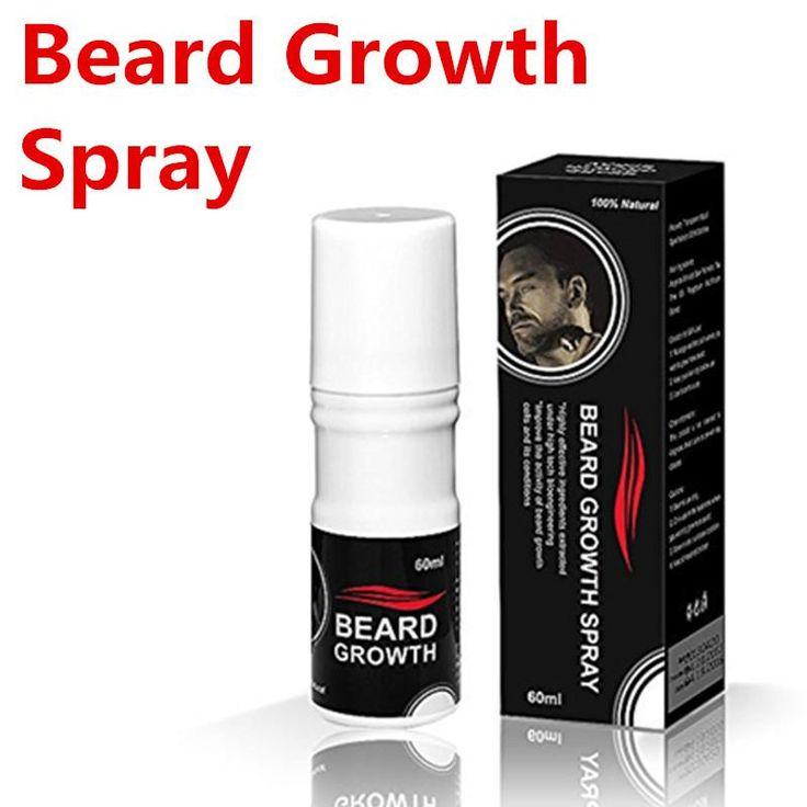 [Visit to Buy] Beard growth spray 60ml beard grow stimulator 100% natural accelerate beard growth oil facial hair grower #Advertisement