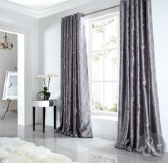 Sicily Curtains Luxury Faux Silk Silver Grey Embroidered Lined Eyelet Curtain in Home, Furniture & DIY, Curtains & Blinds, Curtains & Pelmets | eBay!