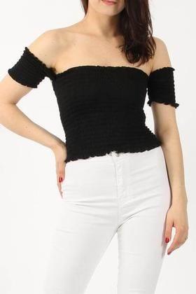 Viscose Shirred Bardot Top - Black - Elegant Expressions UK