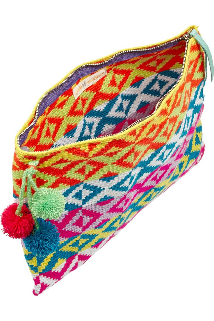 Another simple shaped clutch amped up with bright colors and fun pompoms! Sophie Anderson | Marilu crocheted cotton clutch