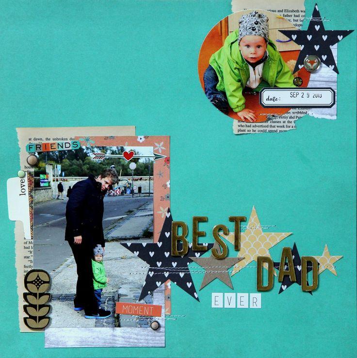 Страничка в альбом за 2013 год по скетчу СкрапКопилочки Best Dad Ever Layout #fancypantsdesign