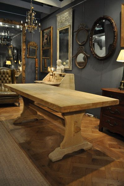 French Vintage Bleached Solid Oak Trestle Dining Table