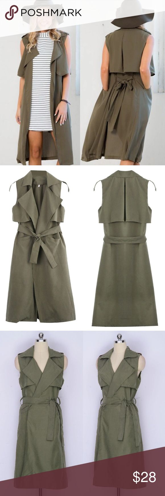 """Long Vest Waistcoat Casual and Cool! Belt Tie and Pockets, Long Vest. Bust: 34"""" Length: 42"""" Jackets & Coats Vests"""