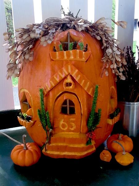 Pumpkin carving contest winners fairy houses