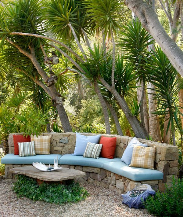 Outdoor Furniture Inspiration (Get your custom cushions for this beautiful stone bench at Patio Place at Ski Haus!)