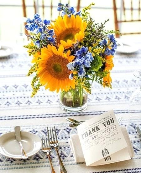 sunflower and blue wedding bouquets dialog a sunflowers centerpiece with blue flowers sunflower and royal blue wedding bouquets
