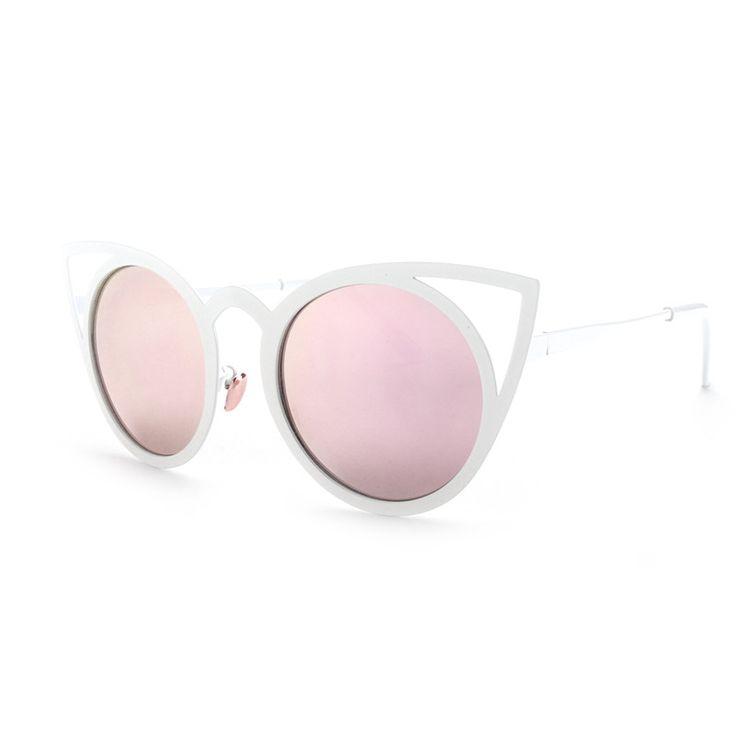 Vintage Cat Eye Sunglasses Metal Eyeglasses Frames Mirror Shades