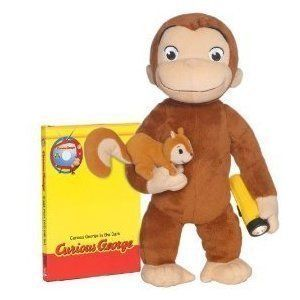 """Curious George Brave Monkey Huggable Plush by Jakks. $89.99. Relive your favorite episode from the Curious George animated series with this adorable plush. You get the Curious George """"In the Dark"""" episode on DVD along with the matching plush, complete with themed outfit. It is 12"""" Tall. Relive your favorite episode from the Curious George animated series with this adorable plush. You get the Curious George """"In the Dark"""" episode on DVD along with the matching pl..."""