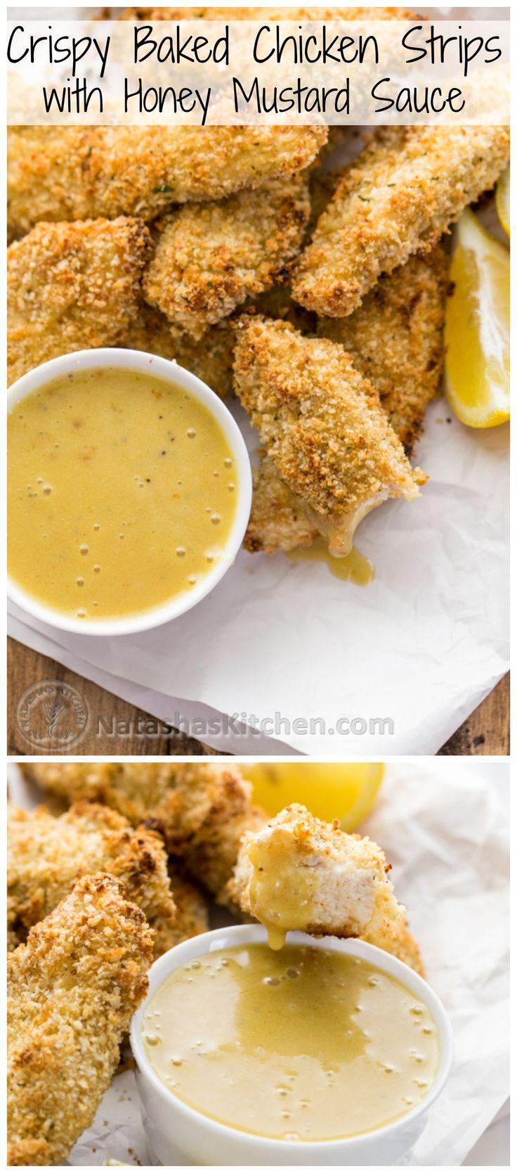 Crisp Baked Breaded Chicken Strips Recipe with Honey Mustard Dip @NatashasKitchen
