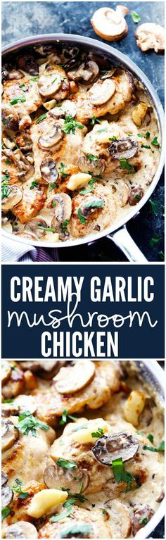 Tender and juicy chicken in the most amazing creamy and delicious garlic mushroom sauce! This makes one incredible 30 minute meal!