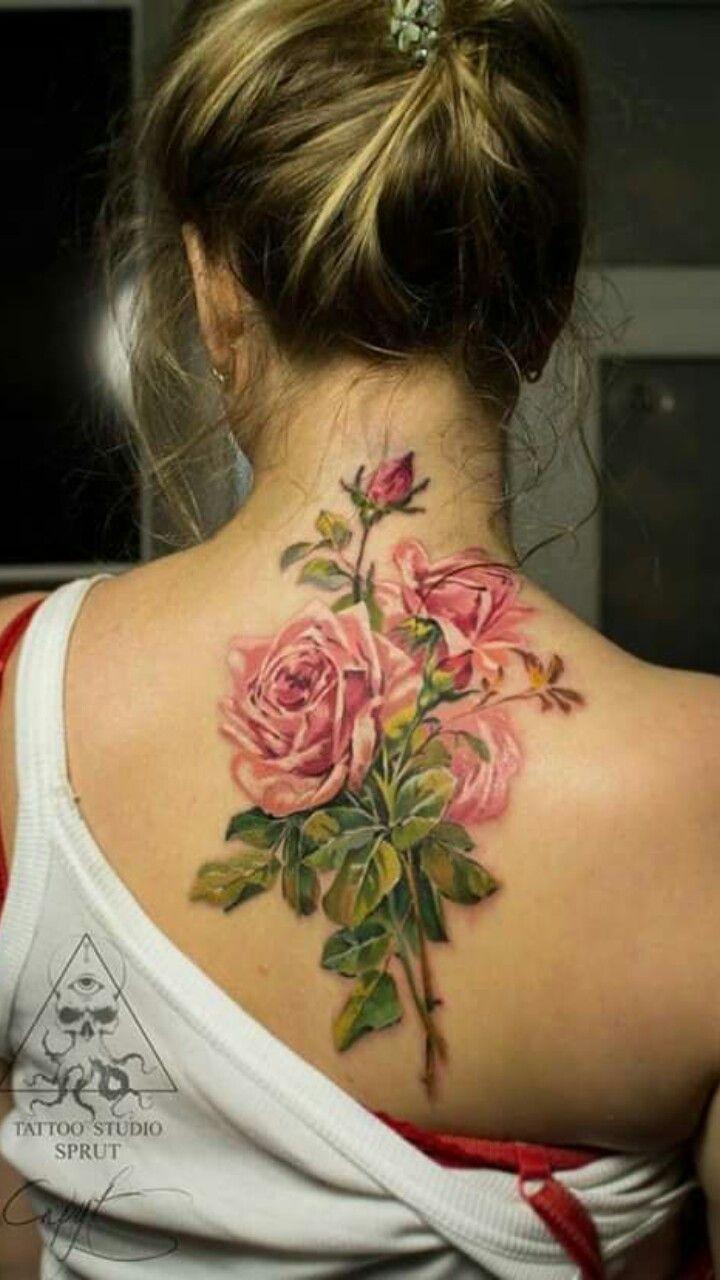 Pin By Cristian Montana On Flores En La Pierna Colorful Rose Tattoos Beautiful Tattoos Rose Tattoos