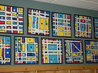 1st grade - used watercolor paper and masking tape. Regular paper the tape will not rip off nicely. Then we painted primary colors with tempera paint and finally I had different squares of sticky tape pre cut that they stuck on