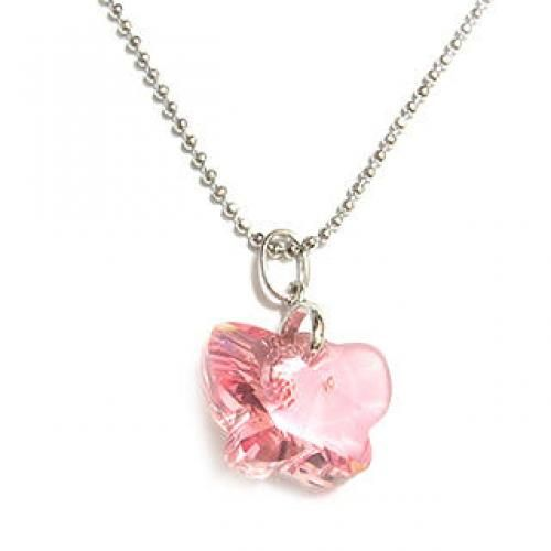 Charming Necklace with Swarovski Sparkling Crystal (Sparkling Pink Butterfly)