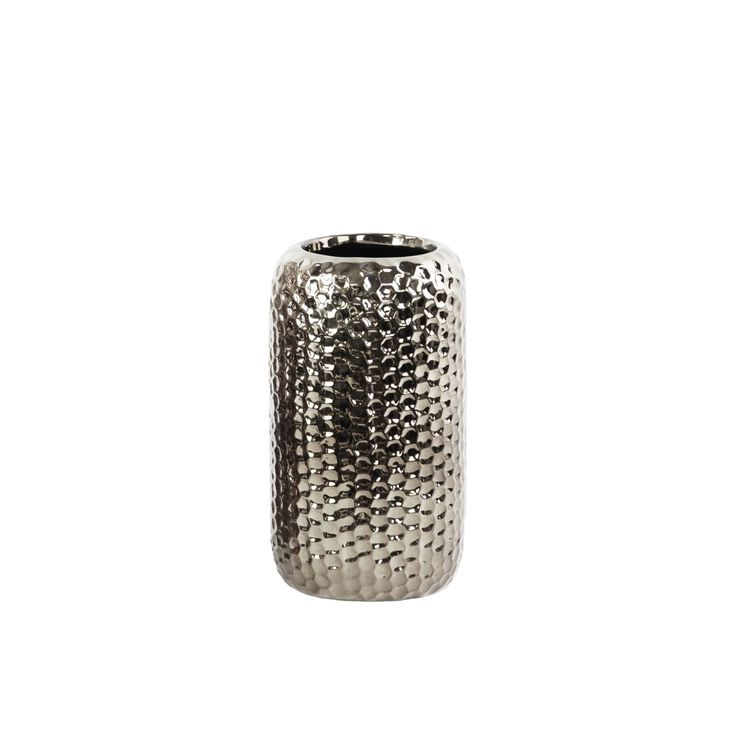 Urban Trends Collection Polished Chrome Finish Silver Ceramic Round Dimpled Vase Small (Ceramic Vase Polished Chrome Finish Silver)