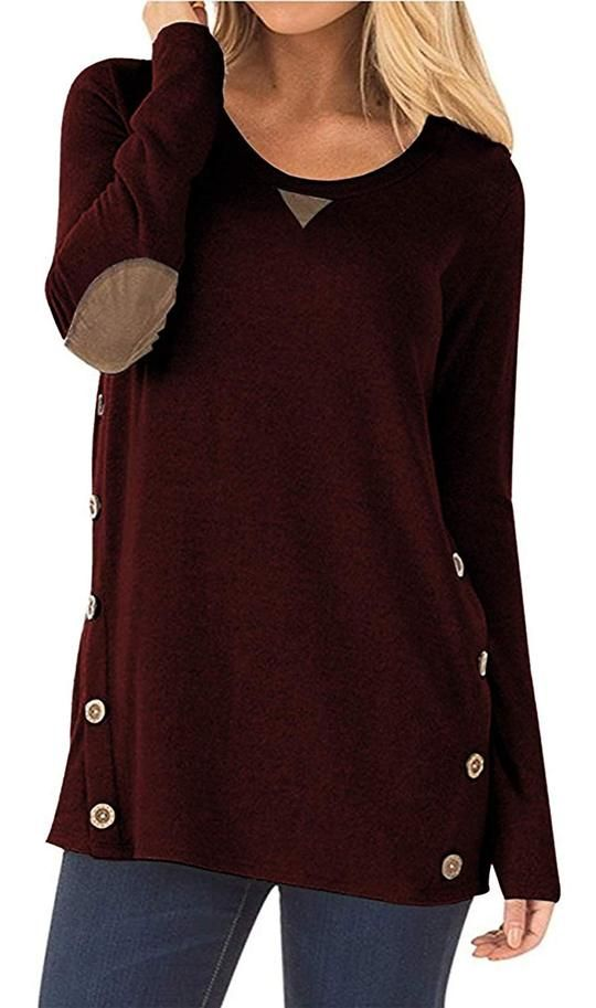 a3b0c531175 Women's Tunic Sweater Side Buttons Long Sleeve Loose Blouse – Valentafashion