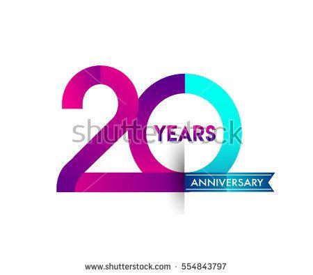 twenty years anniversary celebration logotype colorfull design with blue ribbon, 20th birthday logo on white background