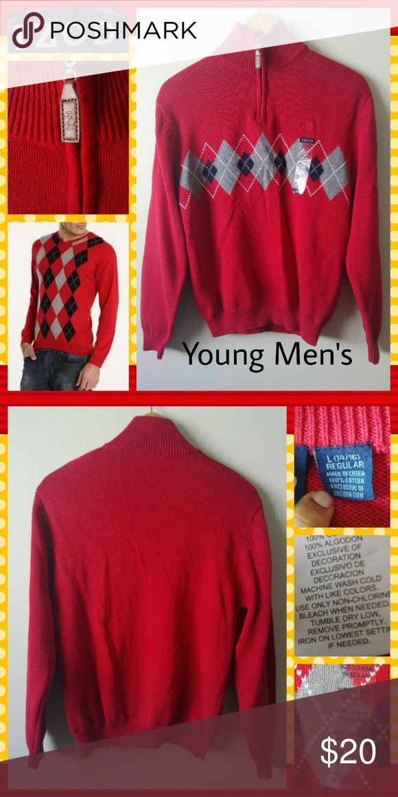 Red Argyle 3/4 Zip Sweater Young men's dressy casual sweater. Perfect for family photos and gatherings. 100% cotton. Izod Sweaters Zip Up
