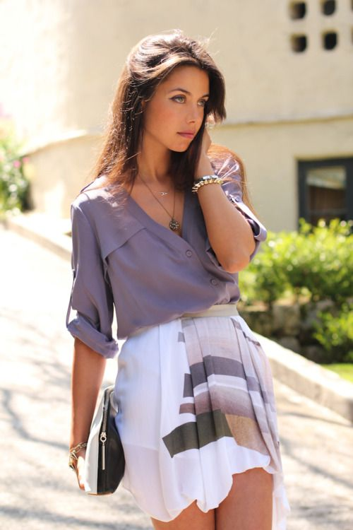 Cute!Fashion Outfit, Summer Styles, Colors, Cute Outfits, Purple Blouses, Buttons, Soft Fabrics, Business Casual, My Style