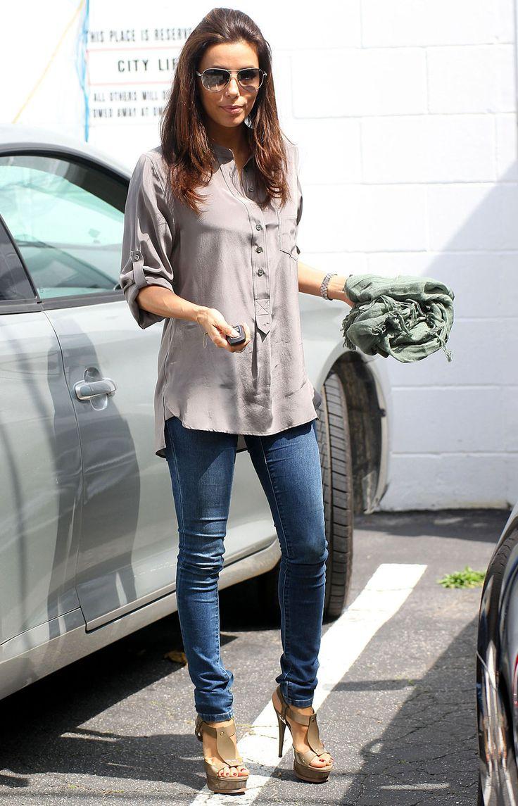 Eva Longoria Skinny Jeans And Platform High Heels Eva Longoria Pinterest Platform High