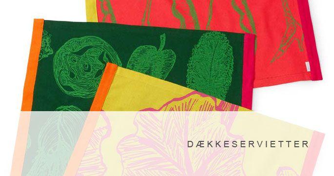 Dækkeservietter. 5 designs, flere farver. http://shop.kurage.dk/kokken-spisestue/daekkeservietter.html