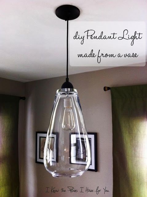 DIY Pendant Light made from a vase