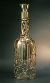 Antique victorian decanter liquor bottle in clear glass silver overlay