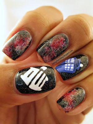 Doctor Who, Tardis, TARDIS, glaxy, red nebula, nails, nail art, nail design, mani