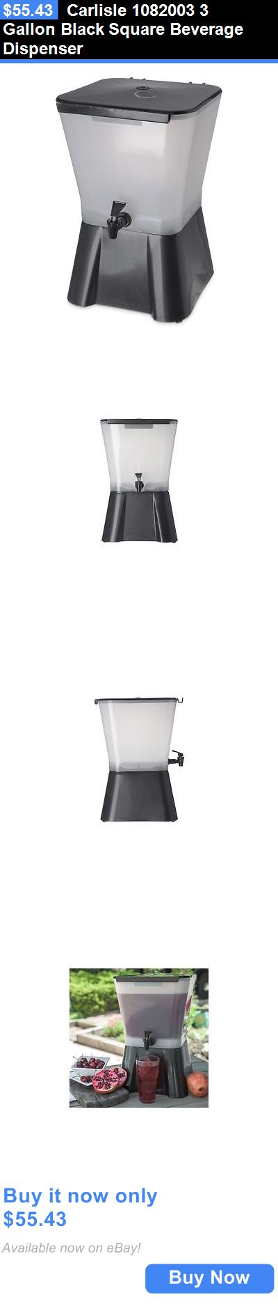 Food And Drink: Carlisle 1082003 3 Gallon Black Square Beverage Dispenser BUY IT NOW ONLY: $55.43