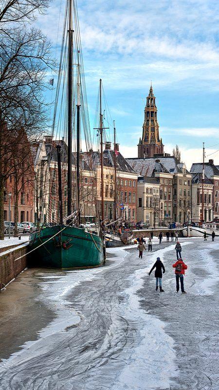 **Frozen Canal, Groningen, The Netherlands (by Nietnagel on Flickr)