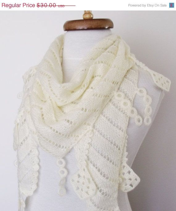 ON SALE Ivory  Mohair Scarf Shawl Lace Edge-Ready by knittingshop