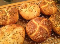 A New York State favorite, a kimmelweck roll is a hard roll similar to a crusty Kaiser roll, sprinkled with caraway and coarse salt instead of sesame or poppy seed topping. The salt and pepper sticks make a great snack something like pretzels.  From The Neighborhood Bake Shop, by Jill Van Cleave posted in response to a recipe request.  Preparation time is approximate.