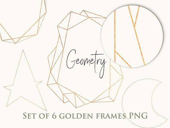 Set Of 12 Golden Frame Clipart Geometric Frame Png Clipart Etsy Frame Clipart Clip Art Frame