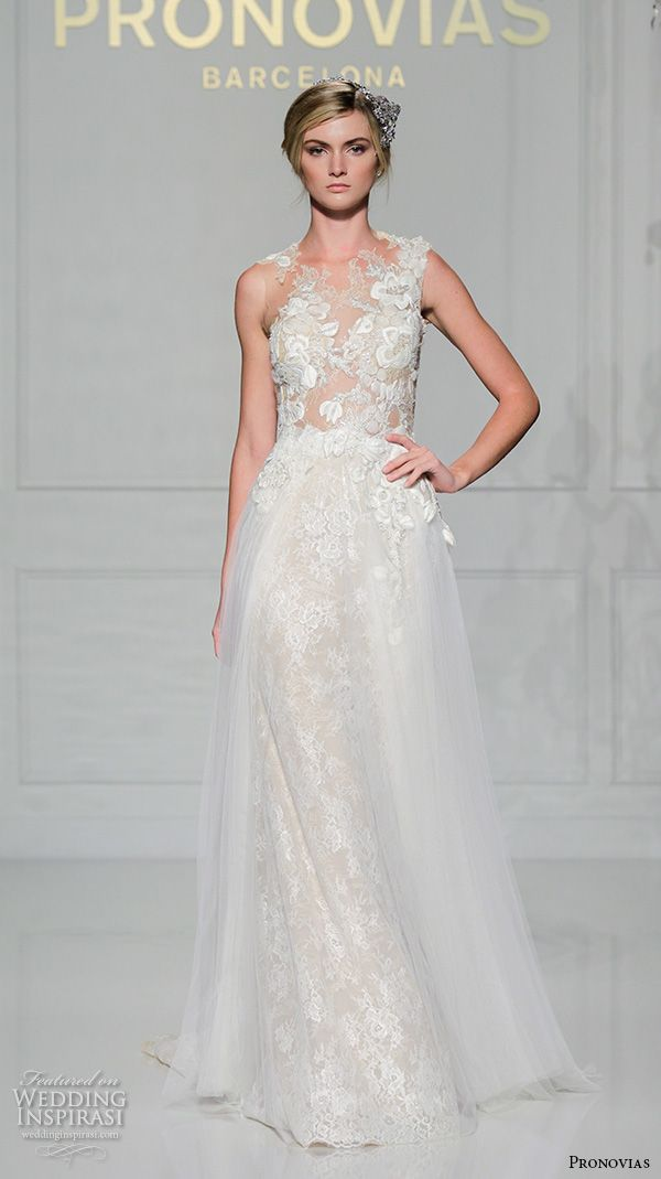 PRONOVIAS 2016 #bridal gowns sexy lace mermaid #wedding dress sleeveless crew neckline tulle flared skirt style vintage #weddingdress #weddinggown