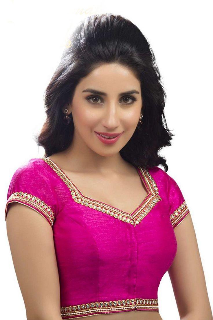 Dark pink raw silk modish blouse with sweetheart neck ...