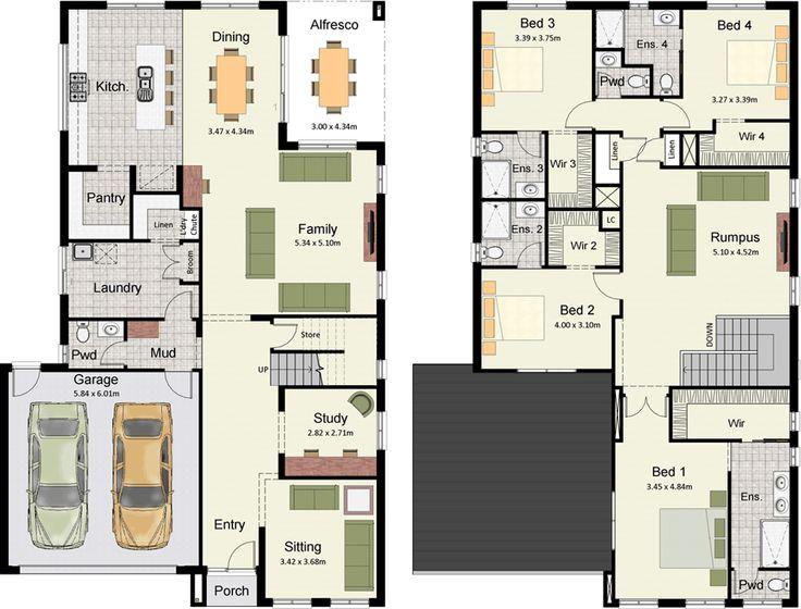 Plano de lujosa y amplia casa moderna con 4 dormitorios 2 for Casa moderna flooring