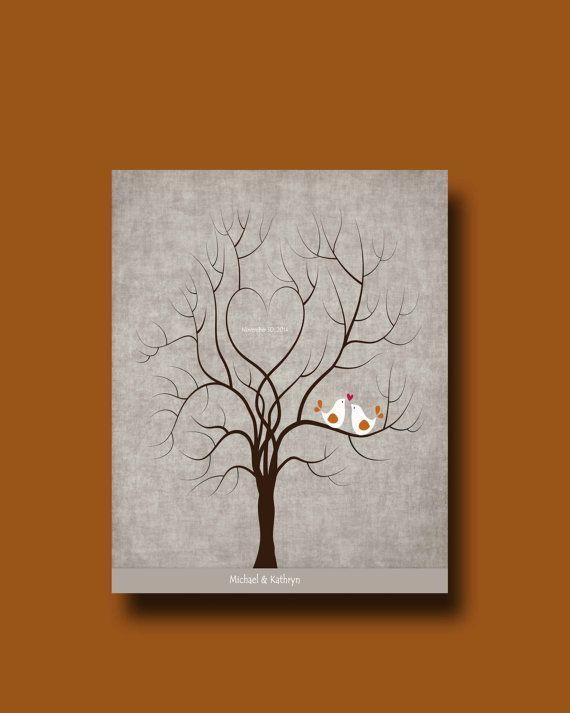 Wedding Thumbprint Tree Wedding Guest Book by WhisperHills on Etsy, $17.00