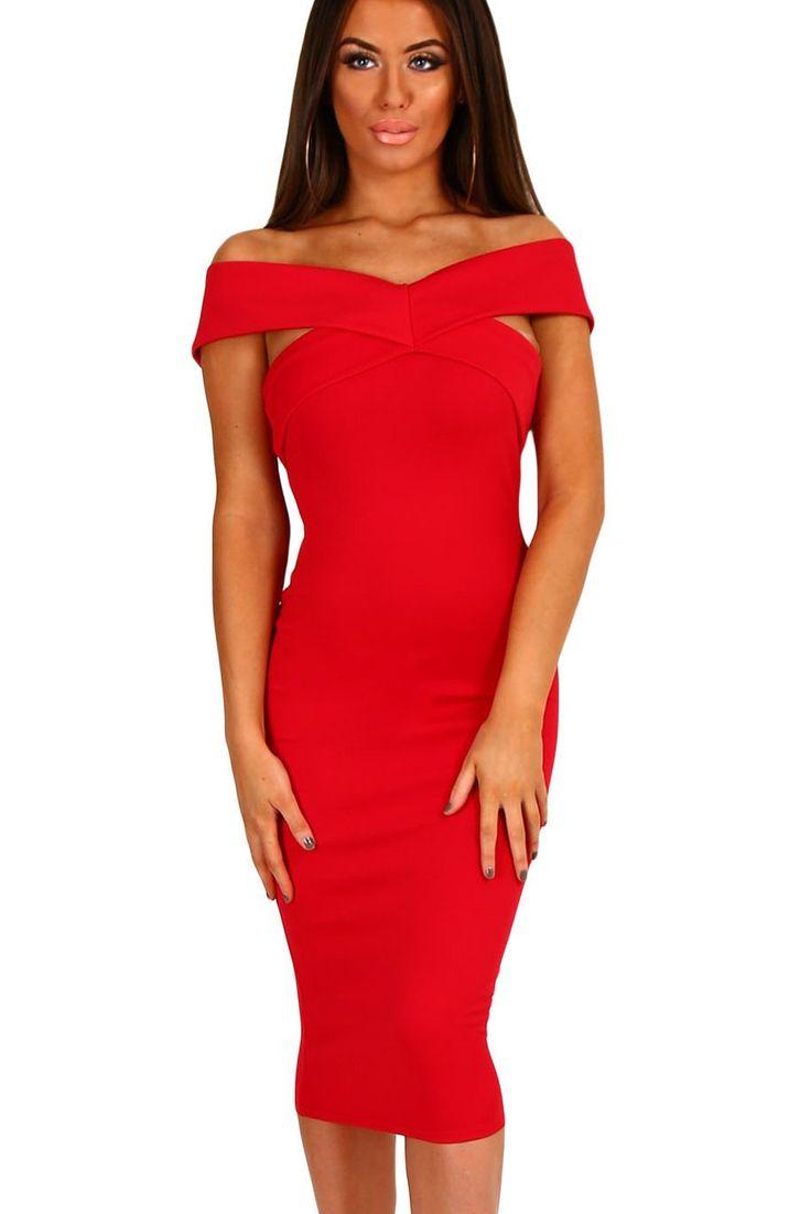 Robe Rouge Mi Longue Moulante Col Bateau Pas Cher www.modebuy.com @Modebuy #Modebuy #Rouge #style #vêtements #sexy