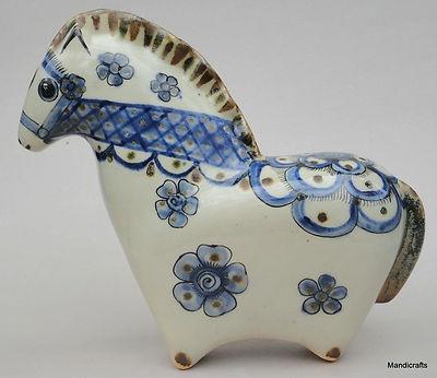 Tonala Mexican Art Pottery Figurine Horse Signed Ken Edwards Mexico