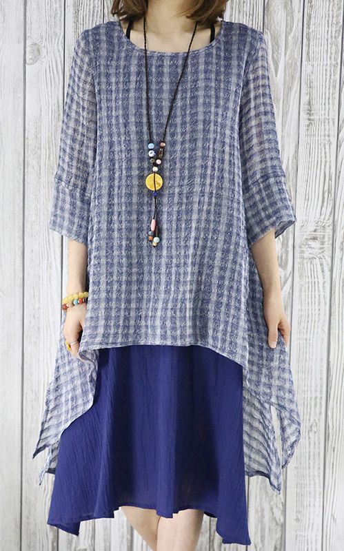 Unique layered design. Asymmetrical hem. Navy layered sundress oversize causal summer dresses half sleeve blouse