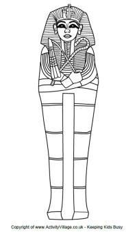 Tutankhamun colouring page      Design a death mask      Sarcophagus colouring page      Design a sarcophagus printable