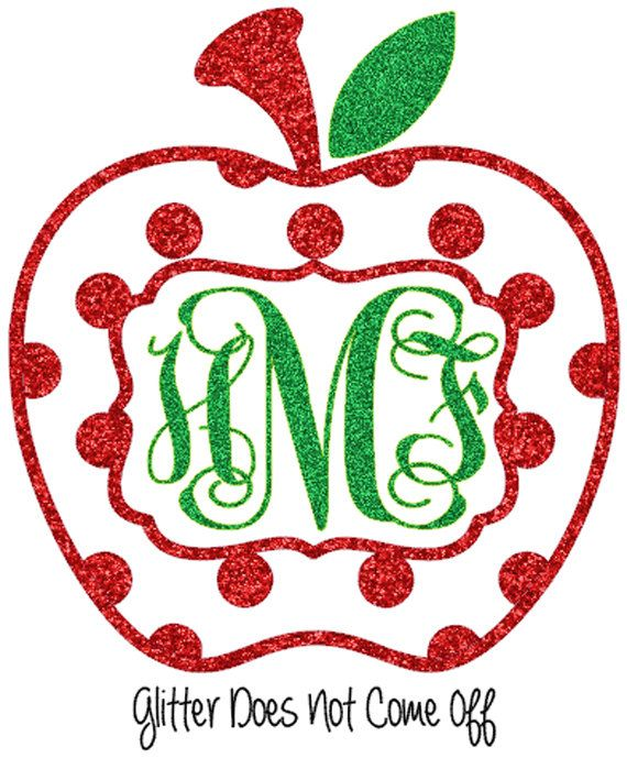 Glitter Polka Dot Pattern Apple Monogram Car Decal by VinylDezignz, $6.95
