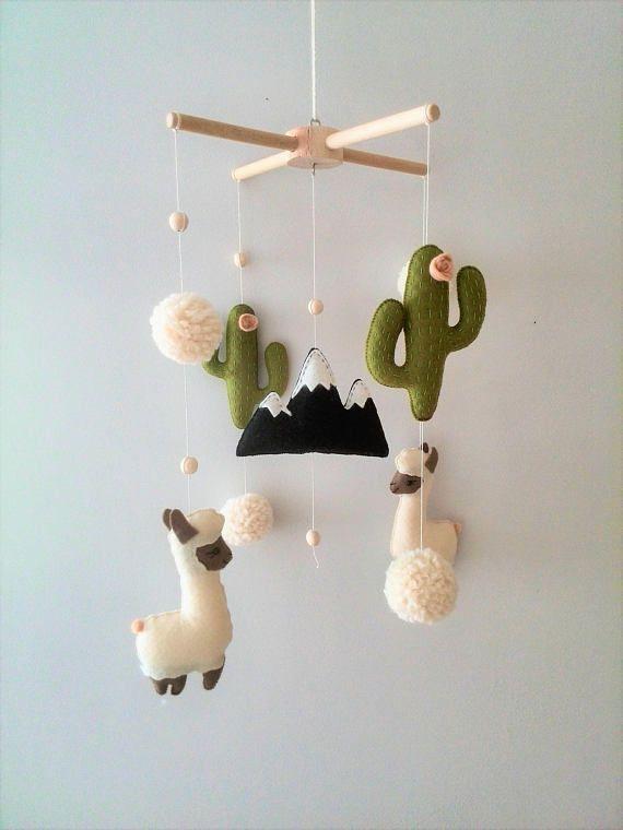 Llama Cactus Mobile Nursery, Baby Mobile Felt Cactus Mobile, Peru Mobile Alpaca, Nursery Decor, Mobile Boho Baby, Nursery Decor Felt Mobile