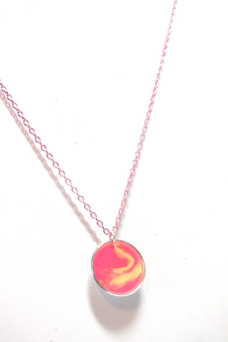Sterling Silver Fimo Clay/Resin Pink Necklace.   www.etsy.com/shop/kaczdesigns