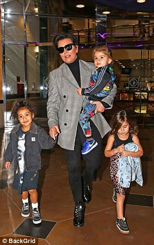 Kris Jenner steps out with North, Penelope and Reign