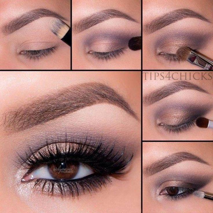 «Универсальный макияж для любого цвета глаз.  1. Нанесите корректор под бровь, чтобы зрительно раскрыть глаз. 2. Нанесите фиолетовый оттенок в складку века…»