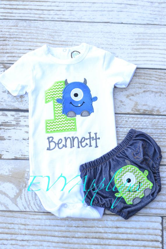 Personalized Monster First Birthday Outfit! Perfect for Monster Themed Birthday Party or Cake Smash! Goes with This little monster is 1 theme in